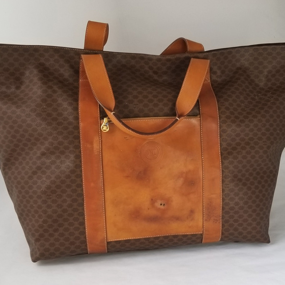 c2f53252cc Celine Handbags - CELINE Macadam Pattern PVC Brown Travel Boston Bag